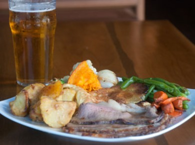 Sunday Roast Sarah's famous traditional English roasts every Sunday served from 1pm Beef, Chicken, Lamb, Pork & Turkey, each week if different. All served with Yorkshire Puddings, loaded with vegetables & lashings of gravy.